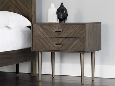 Sunpan Modern Home Zenn Brown / Brass Nickel Two-Drawer Nightstand SPN102412