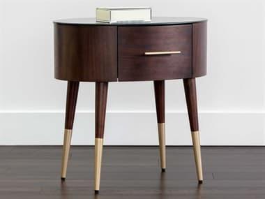 Sunpan Modern Home Zenn Brown / Brushed Gold One-Drawer Nightstand SPN104251