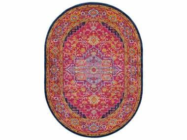 Surya Harput Garnet / Dark Blue Saffron Burnt Orange Teal White Oval Area Rug SYHAP1009OVA