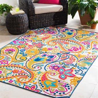 Surya Jolene Saffron / Bright Pink / Yellow / Cream Rectangular Area Rug SYJOL1000REC