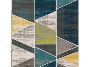 Surya Rafetus Teal / Lime Butter Charcoal Medium Gray White Square Sample SYETS2329SAMPLE