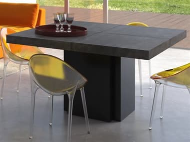 Temahome Dusk Concrete Look / Pure Black 51'' Wide Square Dining Table TEM9500613234