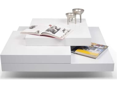 Temahome Slate Pure White 35'' Wide Square Coffee Table TEM9500311819