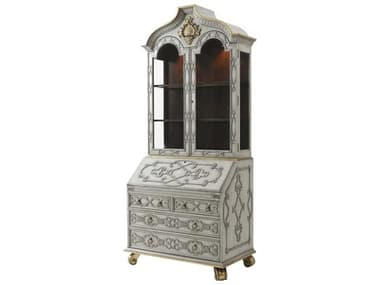 Theodore Alexander Swirl Mahogany Veneer / Brass China Cabinet TALAL65008