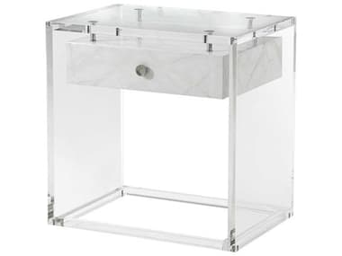 Theodore Alexander Acrylic / Suspended Faux Carrara / Stainless Steel 26'' Wide Rectangular End Table TAL5051003