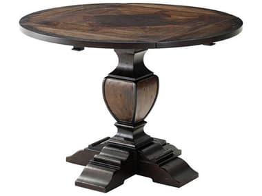 Theodore Alexander Mahogany / Chestnut Burl Veneer Acacia 29'' Wide Round Square Dining Table TAL5400203