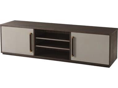 Theodore Alexander Cardamon Lati with Singular Grey Leather & Brushed Brass TV Stand TALTAS62002C076