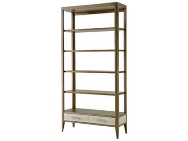 Theodore Alexander Mangrove Primavera with Overcast White Leather & Brushed Stainless Steel Etagere TALTAS63002C079