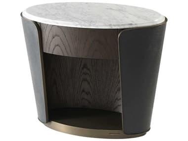 Theodore Alexander Oak Veneer / Marble Leather Oval No Drawers Nightstand TALSLD500060AOJ