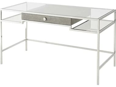 Theodore Alexander Stainless Steel / Eggshell Glass Secretary Desk TAL7129004X15