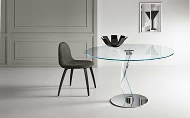 Tonelli Bakkarat Alto Round Dining Table with Extra Clear Tempered Top TONBAKKARATALTOROU
