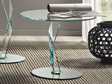Tonelli Bakkarat Round Extraclear Glass Pedestal Table TONBAKKARAT