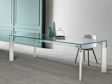 Tonelli Perseo Extra Clear Glass Rectangular Dining Table TONPERSEORECTANGLE