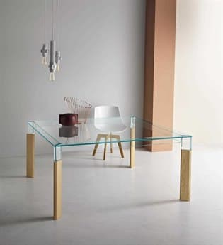 Tonelli Perseo Extra Clear Glass Square Dining Table TONPERSEOSQUARE