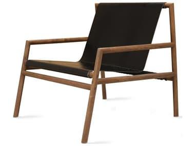 Tronk Design Gallagher Black Leather / Walnut Accent Chair TROGALLNGWALLTHBL