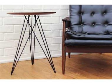 Tronk Design Hudson Walnut Round End Table TROHUDWALNOINLBL