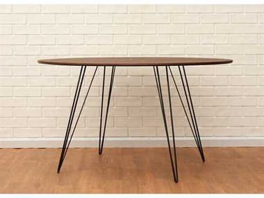 Tronk Design Williams Walnut 54L x 46 Wide Oval Dining Table TROWILDINWALLGOVLBL