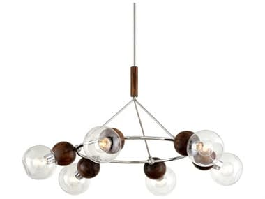 Troy Lighting Arlo Polished Stainless Steel / Natural Acacia 6-light 46'' Wide Glass Large Chandelier TLF7676