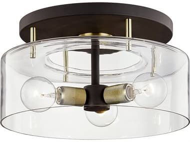 Troy Lighting Bergamot Station Bronze / Brass 3-light 17'' Wide Glass Semi-Flush Mount TLC7542
