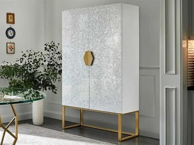 Universal Furniture Miranda Kerr Mother Of Pearl / White Lacquer Soft Gold Metal Bar Cabinet UF956690