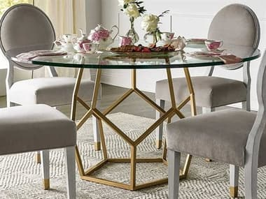 Universal Furniture Miranda Kerr Tempered Glass / Soft Gold Metal 60'' Wide Round Dining Table UF956C657