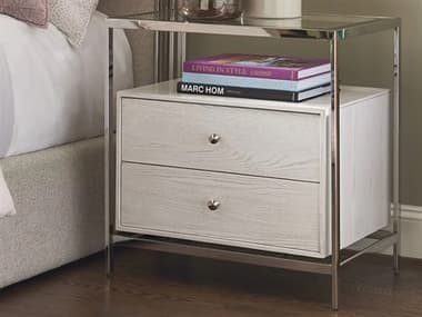 Universal Furniture Paradox Ivory / Polished Stainless Steel 2 Drawers Nightstand UF827350