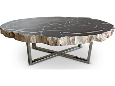 Urbia Eliza Natural Dark / Polished Chrome 46-52'' Wide Coffee Table URBIPJELIZCTDK