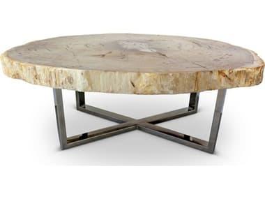 Urbia Eliza Natural Dark / Polished Chrome 46-52'' Wide Coffee Table URBIPJELIZCTLT