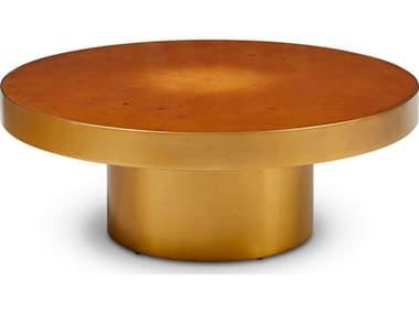 Urbia Lara Natural Oak Burl / Brass 39'' Wide Round Lara Coffee Table URBIELARACT