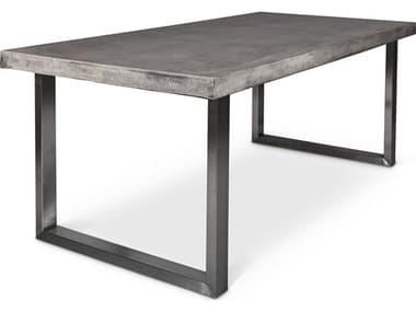 Urbia Miller Dark Grey / Brushed Stainless Steel 83'' Wide Rectangular Dining Table URBVGSMILLERGDT