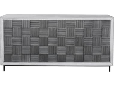 Uttermost Checkerboard Light Gray / White Washed Sideboard UT25489