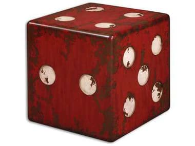 Uttermost Dice 18.75 Square Red Accent Table UT24168