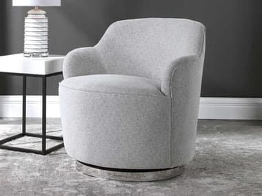 Uttermost Hobart Natural Stone / Polished Nickel Swivel Accent Chair UT23529