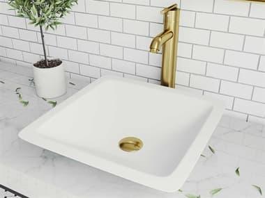 Vigo Begonia Matte White 17'' Wide Square Vessel Bathroom Sink with Matte Brushed Gold 1-Lever Seville Faucet and Drain VIVGT1464