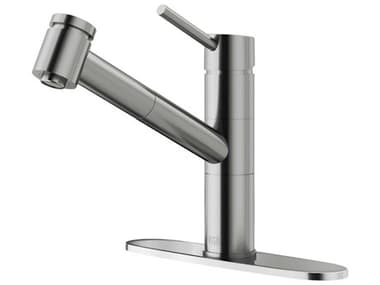 Vigo Branson Stainless Steel 1-Handle Deck Mount Pull-Out Kitchen Faucet and Deck Plate VIVG02021STK1