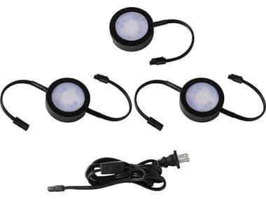 WAC Lighting Line Voltage Puck Black 3-light 10'' Wide LED Cabinet LighLightting WACHRAC73CSBK