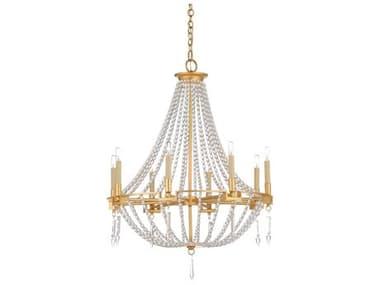 Wildwood Lamps Gold Leaf / Clear 8-light 27'' Wide Crystal Medium Chandelier WL67366