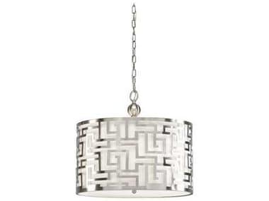 Wildwood Lamps Daphne Brushed Nickel / White Linen 20'' Wide Pendant WL67046