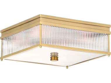 Wildwood Lamps Antique Brass / Clear Frosted 4-light 15'' Wide Glass Flush Mount Light WL67390