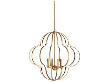 Wildwood Lamps Antique Brass 4-light 24'' Wide Mini Chandelier WL67263