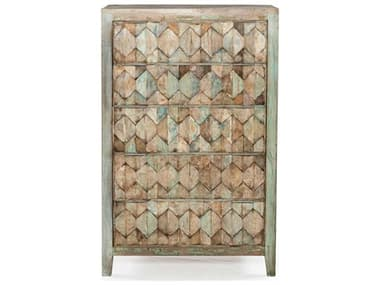 World Interiors Cordoba Vintage Teal / Antique Nickel Five-Drawers Chest of Drawers WITZWCDBTC32