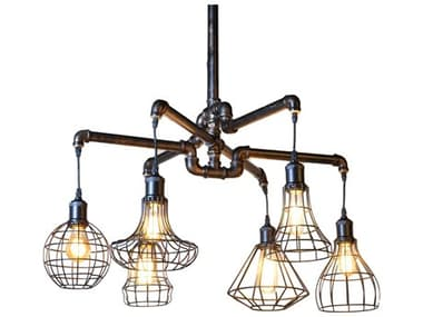 World Interiors Element Powder Coated Black 27'' Wide Glass Industrial LED Medium Chandelier WITZWLMCL15AVG