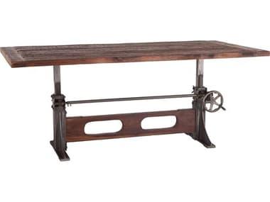 World Interiors Welles Weathered Russet / Gun Metal 83'' Wide Rectangular Adjustable Dining Table WITZWMFDT84