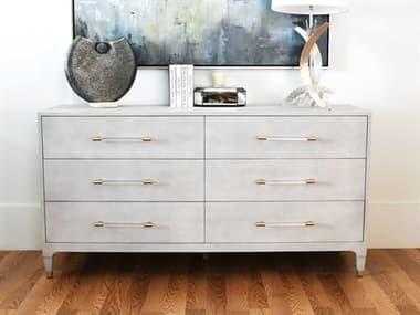 Worlds Away Light Grey Faux Shagreen / Antique Brass / Acrylic Six-Drawer Double Dresser WAMARENLGS