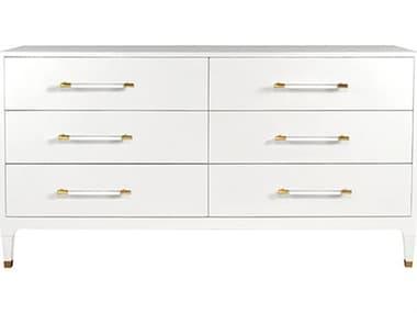Worlds Away Lacquered White Linen / Antique Brass / Acrylic Six-Drawer Double Dresser WAMARENWHL
