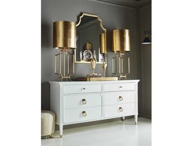 Worlds Away Modern Six-Drawer Double Dresser with Wall Mirror Set WAVINCENTWHSET