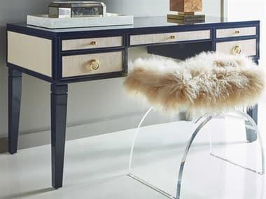 Worlds Away Matte Navy / Grasscloth / Brass Secretary Desk WAHEIDINVY