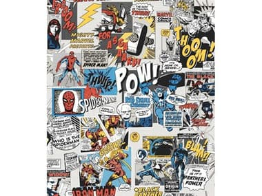 York Wallcoverings Disney Kids Vol.-4 Black / Blue / Red Marvel Comics Pow Wallpaper YWDI0944