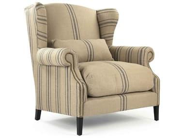 Zentique Napoleon English Khaki Linen Blue Stripe Accent Chair ZENCF076L002A033BLUESTRIPE