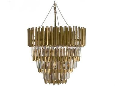 Zentique Gold Leaf 4-light 27'' Wide Crystal Medium Chandelier ZENLIS1605291